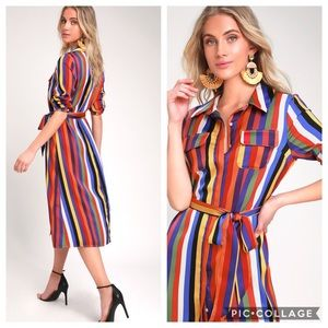 Lulus Rainbow Striped Long Sleeve Midi Shirt Dress
